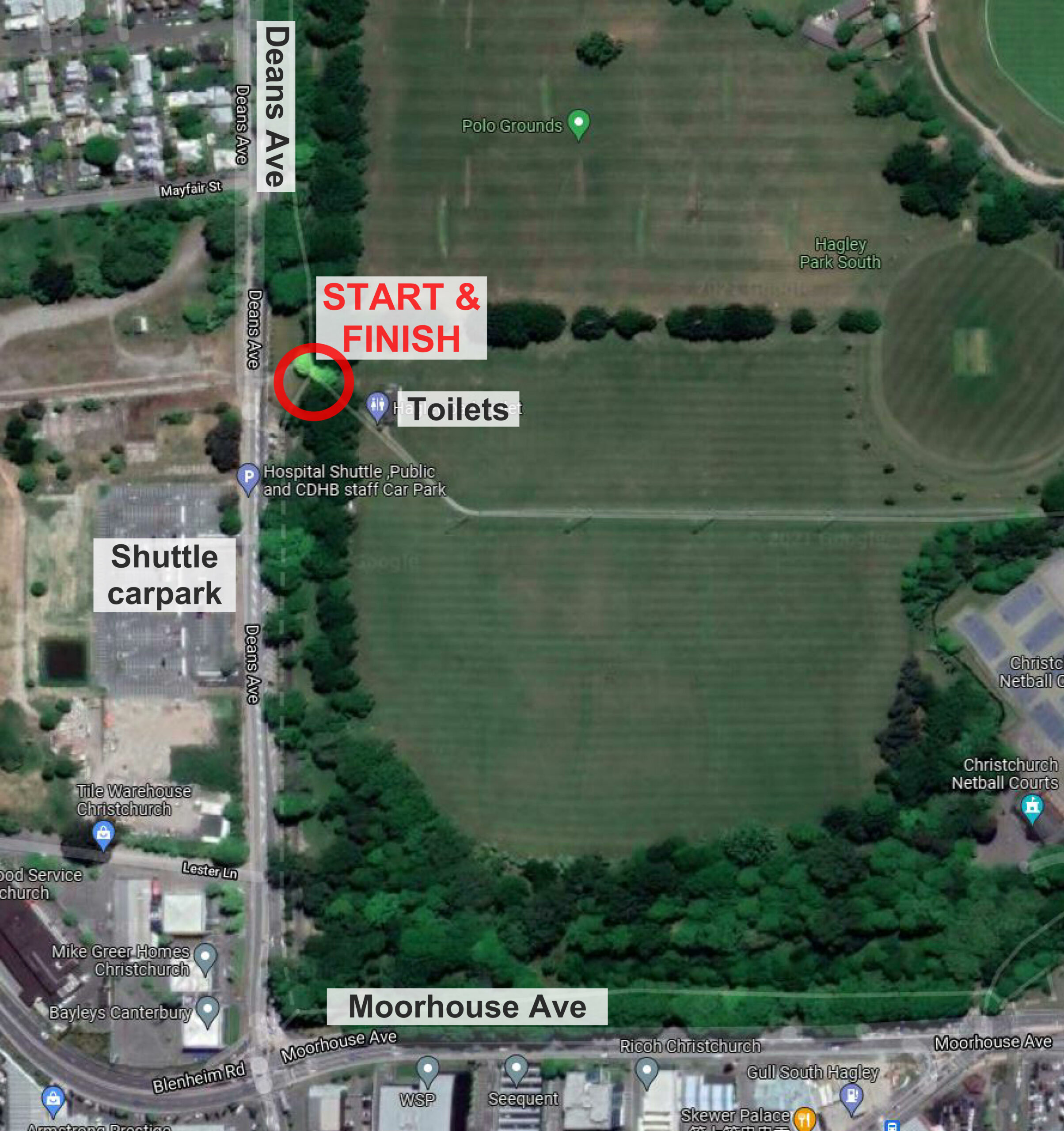 Meeting location in South Hagley park, public toilets opposite the hospital shuttle carpark